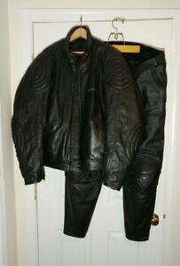 DUCATI black leather motorcycle jacket and pants size 60 EUR