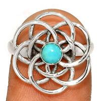 Mandala - Genuine Larimar - Dominican Republic 925 Silver Ring s.6.5 BR25155 XGB