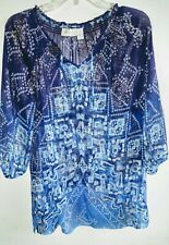 3a4d00cf6d562 Chico s Sheer Bluetones Pullover Blouse Top Front Neck Tie 3 4 Sleeve Size  ...