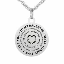 To My Daughter Stainless Steel Pendant Inspirational Necklace From Dad Mom Love