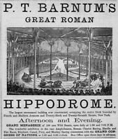 P. T. BARNUM'S ROMAN HIPPODROME GRAND MENAGERIE CHARIOT RACING 1874 ADVERTISMENT