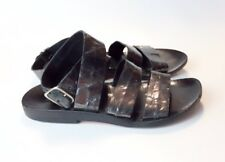 CALLEEN CORDERO size 6 Black Crackled Metallic Leather Ankle Strap Sandals