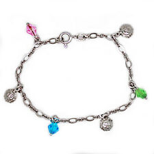 """925 solid sterling silver Bracelet with Dangly """"smiley suns"""" and crystal beads"""