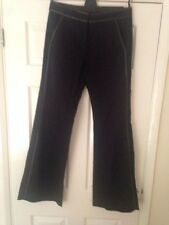 Reiss Black Trousers with leather trim Size 10