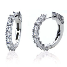 Fine Platinum Plated Sterling Silver Cubic CZ Prong Setting Womens Hoop Earrings