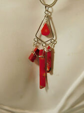 """Red Bamboo Coral Pendant Sterling Silver 22"""" Snake Chain Necklace 6b 110"""