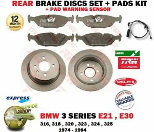 Rear SOLID BRAKE DISCS + PAD for BMW 3 Convertible (E30) 320 i 1986-1993 258mm