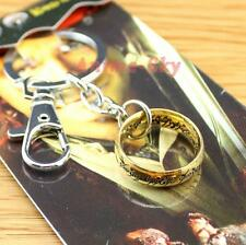 NEW The Hobbit The Lord of the Rings Metal Finger Ring Keychain Pendant Golden