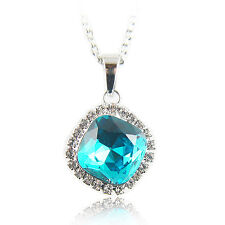 18k white Gold GF Diamond cut blue pendant necklace with Swarovski elements