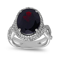 Sterling Silver Genuine Garnet Solitaire Ring with CZ, Micro Pave Setting,Size 7