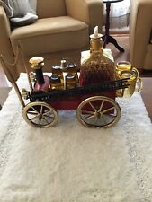 Antique Fire Wagon Liquor Decanter With Six Shot Glasses