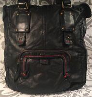Black Faux  Leather Soft Purse Converse One Star Red Trim Shoulder Bag #384