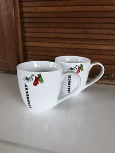 Set/2 Starbucks 2011 Christmas Winter Holiday 13 oz Ceramic Mugs, Mint Condition