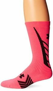 Under Armour Undeniable Crew Socks Men Size L Large Hot Pink Black Athletic NWT