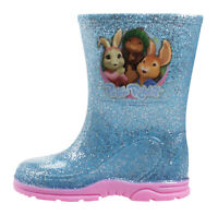 Peter Lily Rabbit Girls Glitter Blue Wellies Wellington Boots UK Size Child 5-10