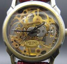 """L697⭐⭐ Vintage """" PEPE Skeletor """" Handaufzug Lederarmband⭐⭐"""