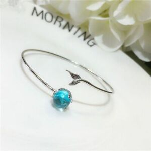 925 Sterling Silver Mermaid Bracelets Open Bangle Charms Bangles Wedding Jewelry