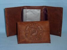 MIAMI DOLPHINS  Leather TriFold WALLET   New in Package   brown 1   vintage logo