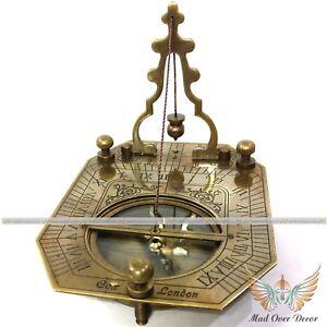 Nautical Vintage Antique Reproduction sundial F. Cox Pendulum compass Decor Gift