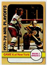 1972-73 Topps NHL Playoffs GAME 6 at New York (ex) Cheevers