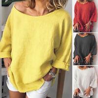 ZANZEA Women Oversize Long Sleeve Shirt Tops Cotton Solid Ladies Tops Blouse Tee