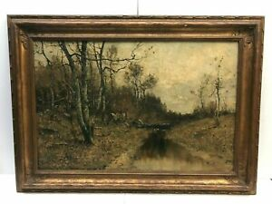 Max WEYL (1837-1914)  River Landscape Oil /canvas, Singed Dated 1882