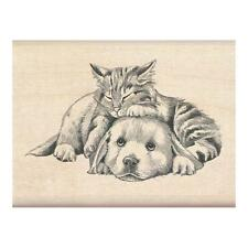 INKADINKADO RUBBER STAMPS FURRY FRIENDS DOG & CAT NEW wood STAMP