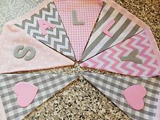 PERSONALISED BUNTING- GREY & PINK MIX-ANY NAME-£1 PER FLAG, FREE P&P