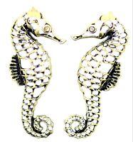 Vintage retro style bronze coloured seahorse stud earrings