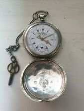 Turkish Ottoman Empire POCKET WATCH Hunter Pocket Watch with old chain and key.