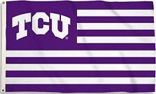 Tcu Horned Frogs 3' x 5' Flag (Stripes With Logo) Ncaa Licensed