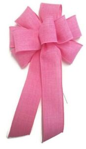 """Large 9-10"""" Handmade Pink Linen Wreath Wired Bow Spring Swag Easter"""