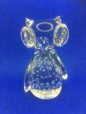 Crystal Glass blown Owl Contrlled bubbles