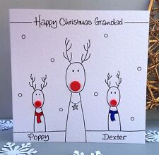 Personalised Reindeer family Christmas card Mummy Mum Daddy Dad Nanny Grandad