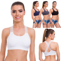 Womens Padded Cross Back Sports Bra Comfy Activewear Fitness Gym Yoga Top FG6093