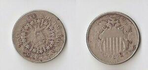 USA   Shield Nickel  5 cents 1866  Rays