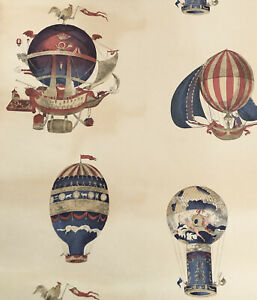 Mulberry Flights Of Fantasy Wallpaper Hot Air Balloon Red And Blue Cream 2 Rolls