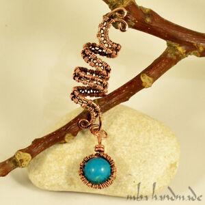 Spiral Copper Turquoise Viking Hair Beads Beard Dreadlock Hair Accessory