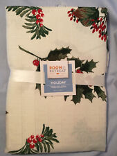 "Christams Fabric Tablecloth / 52"" x 70"" Holly Leaves & Berries"