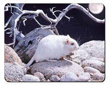 White Gerbil Computer Mouse Mat Christmas Gift Idea, GERB-1M