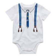 Okie Dokie Suspenders & Tie Print One-Piece Bodysuit Shirt Baby Boy 18 Months