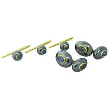 Trianon Hematite Sapphire 18k Gold Cufflinks Stud Dress Set