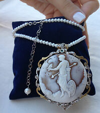 Collana spilla cammeo oro argento made in italy