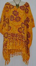 HIBISCUS Yellow Kaftan Blouse Top Baggy T-Shirt OverSize Ladies Fringe Festive