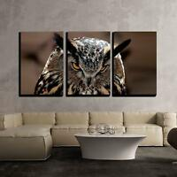 "Wall26 - Great Horned Owl Portrait - Canvas Art Wall Decor - 16""x24""x3 Panels"