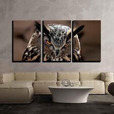 "Wall26 - Great Horned Owl Portrait - Canvas Art Wall Decor - 16""x24""x3 Panels"