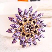 Buckle Diamante Wedding Bridal Pins Rhinestone Crystal Flower Brooch Purple