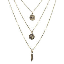 Lux Accessories Burnished Gold Tone Wisdom Owl Leaf Layered Necklace