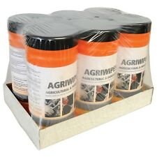 New Pack of Six (6) Agri Wipes Compact & Re-sealable Tubs with 80 Sheets per Tub