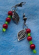 Ohrringe mit Perlen + Blättern * Brisur * rot/grün